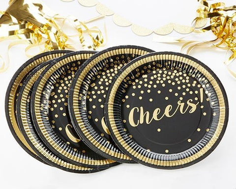 Gold Foil Cheers Paper Plates - Party Time-Jubilee Favors