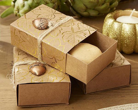 Gold Foil Leaf Favor Box with Acorn Charm (Set of 24)-Jubilee Favors