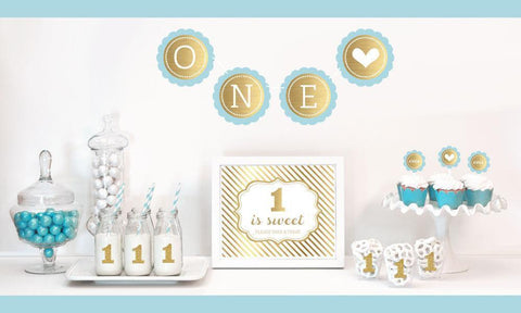 Gold & Glitter 1st Birthday Party Decor Kit-Jubilee Favors
