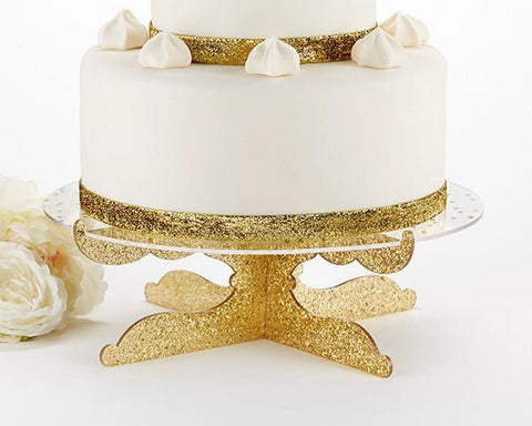 Gold Glitter Acrylic Cake Stand - Party Time-Jubilee Favors