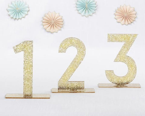 Gold Glitter Acrylic Table Numbers (1-6)-Jubilee Favors