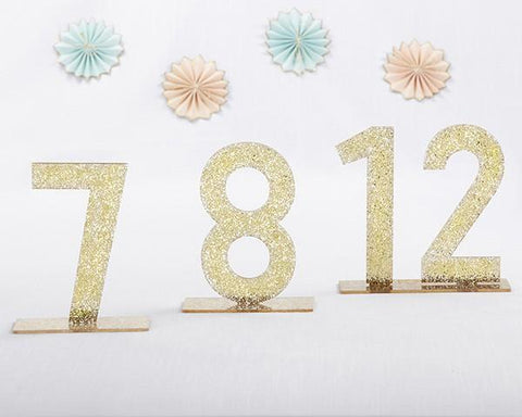 Gold Glitter Acrylic Table Numbers (7-12)-Jubilee Favors