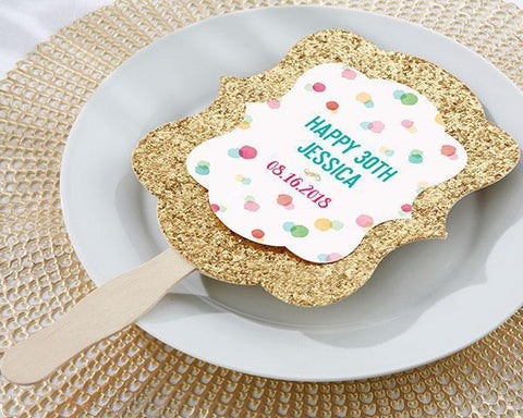 Gold Glitter Hand Fan - Party Time (Set of 12)-Jubilee Favors