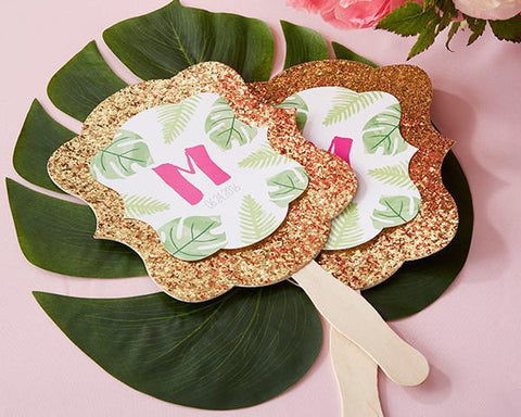 Gold Glitter Hand Fan - Pineapples and Palms (Set of 12)-Jubilee Favors