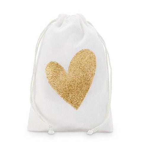 Gold Glitter Heart Muslin Drawstring Favor Bag - Small (Set of 12)-Jubilee Favors