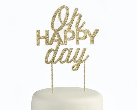 Gold Glitter Oh Happy Day Acrylic Cake Topper-Jubilee Favors