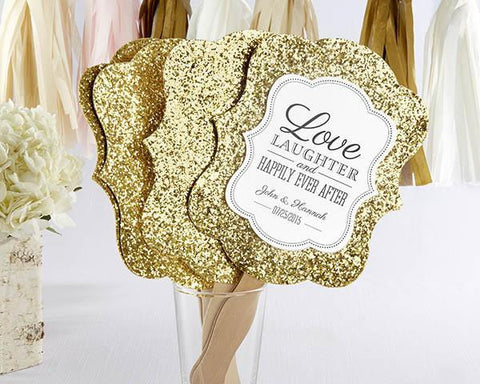 Gold Glitter Personalized Hand Fan (Set of 12)-Jubilee Favors