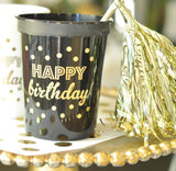 Gold HAPPY BIRTHDAY Party Cups (set of 25)-Jubilee Favors
