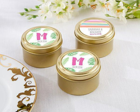 Gold Round Candy Tins - Pineapples and Palms (Set of 12)-Jubilee Favors
