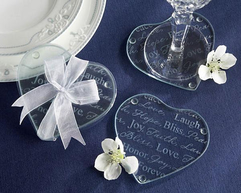 """Good Wishes"" Heart Glass Coasters-Jubilee Favors"