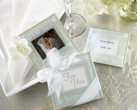 """Good Wishes"" Pearlized Photo Coasters-Jubilee Favors"