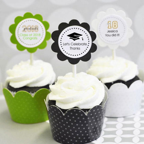 Graduation Cupcake Wrappers & Cupcake Toppers (Set of 24)-Jubilee Favors