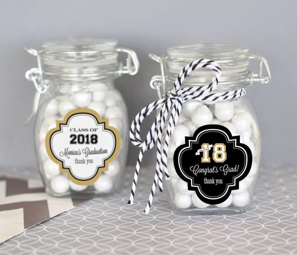 Graduation Theme Personalized Glass Jar with Swing Top Lid - SMALL