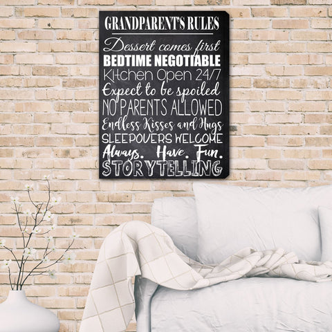 Grandparent's Rules Canvas Print-Jubilee Favors