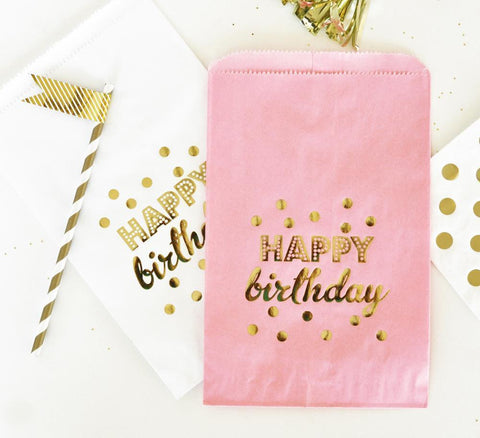 """Happy Birthday"" Gold Foil Candy Buffet Bags (set of 12)-Jubilee Favors"