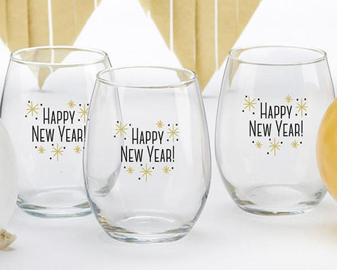 Happy New Year! 15 oz. Stemless Wine Glass (Set of 4)-Jubilee Favors