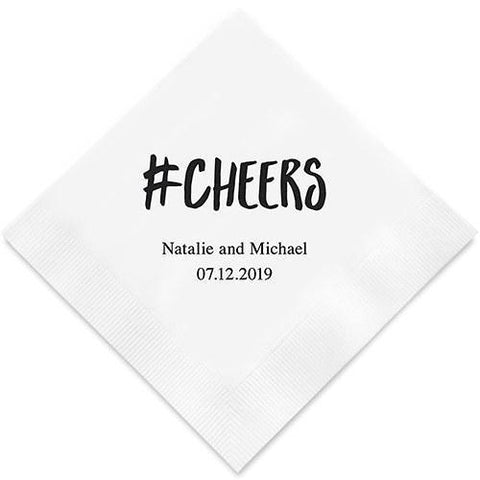 Hashtag Cheers Printed Paper Napkins-Jubilee Favors