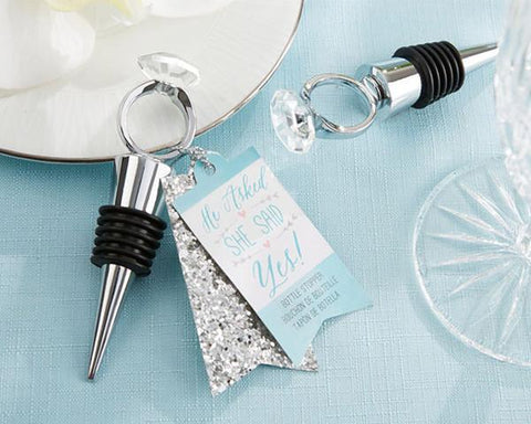 """He Asked, She Said Yes"" Engagement Ring Bottle Stopper-Jubilee Favors"