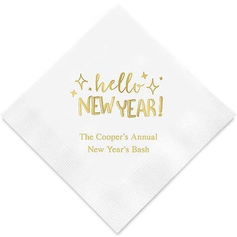 Hello New Year Printed Paper Napkins-Jubilee Favors