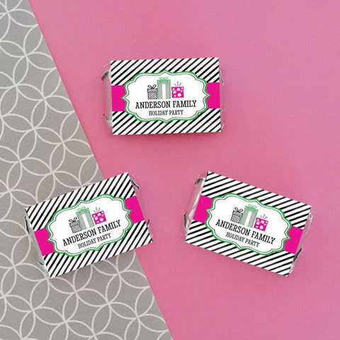 Holiday Party Personalized Mini Candy Bar Wrappers-Jubilee Favors