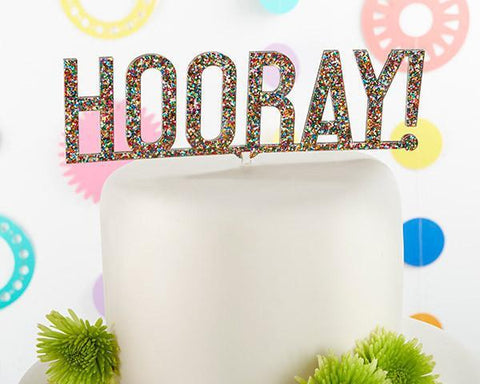 Hooray Multicolor Glitter Acrylic Cake Topper-Jubilee Favors