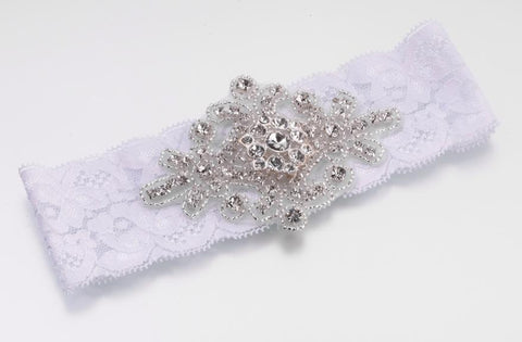 Jeweled White Garter-Jubilee Favors