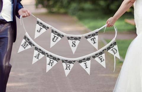 Just Married Black and White Banner-Jubilee Favors