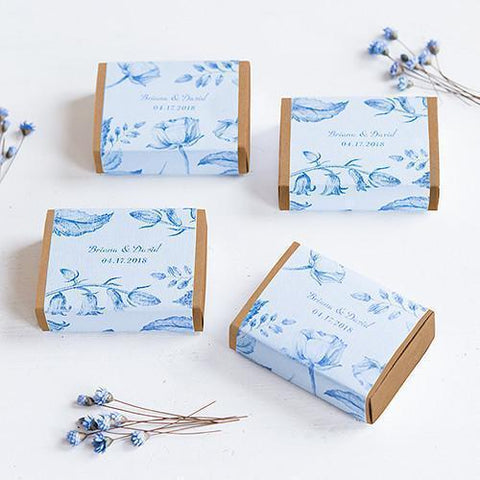 Kraft Drawer-Style Favor Box with Romance Floral Wrap (set of 8)-Jubilee Favors