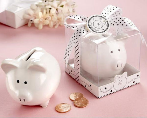 """Li'l Saver Favor"" Ceramic Mini-Piggy Bank in Gift Box with Polka-Dot Bow-Jubilee Favors"