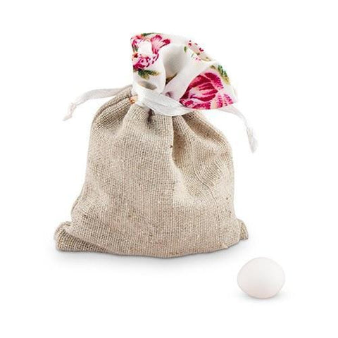 Linen Drawstring Bag With Floral Print Trim (Set of 12)-Jubilee Favors