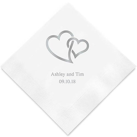 Linked Double Hearts Printed Paper Napkins-Jubilee Favors