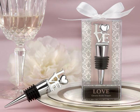 """LOVE"" Chrome Bottle Stopper-Jubilee Favors"