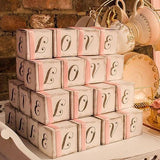 """LOVE"" Cube Favor Boxes With Charming Aged Print (10)-Jubilee Favors"