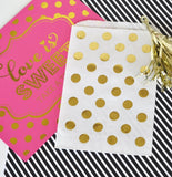 """Love is Sweet"" Gold Foil Candy Buffet Bags (Set of 12)-Jubilee Favors"