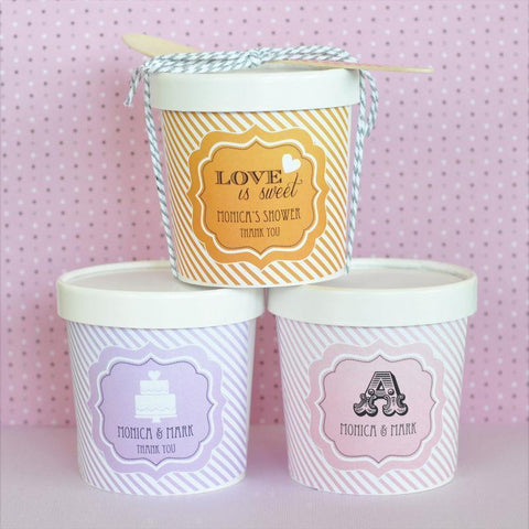 """Love is Sweet"" Mini Ice Cream Containers-Jubilee Favors"