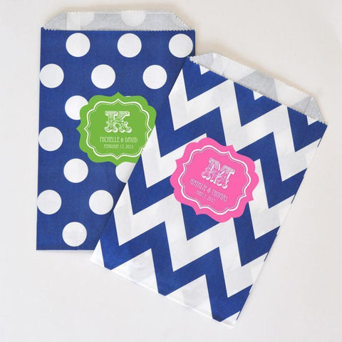 """Love is Sweet"" Personalized Chevron & Dots Goodie Bags (set of 12)-Jubilee Favors"