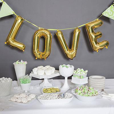 "Love Reusable Mylar Balloon Kit - 34"" - Gold-Jubilee Favors"