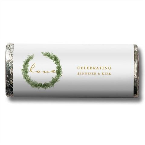 Love Wreath Nut Free Gourmet Milk Chocolate Bar (Set of 8)-Jubilee Favors