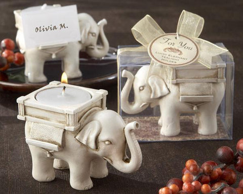 """Lucky Elephant"" Antique Ivory - Finish Tea Light Holder-Jubilee Favors"