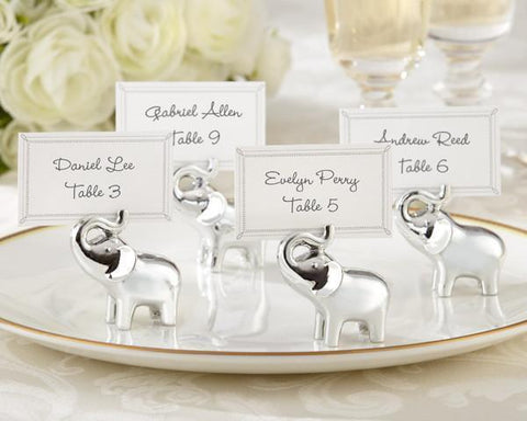 """Lucky in Love"" Silver-Finish Lucky Elephant Place Card/Photo Holder (Set of 4)-Jubilee Favors"