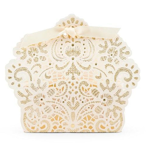 Luscious Foil Lace Favor Box With Ribbon-Jubilee Favors