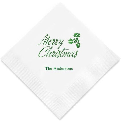 Merry Christmas Printed Paper Napkins-Jubilee Favors