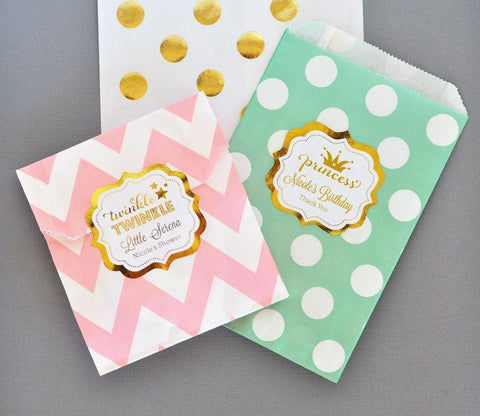 Metallic Foil Chevron & Dots Personalized Goodie Bags (set of 12) - Baby-Jubilee Favors