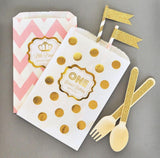 Metallic Foil Chevron & Dots Personalized Goodie Bags (set of 12) - Birthday-Jubilee Favors