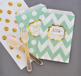 Metallic Foil Chevron & Dots Personalized Goodie Bags (set of 12) - Wedding-Jubilee Favors