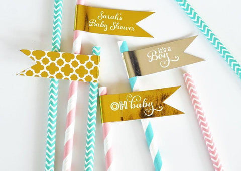 Metallic Foil Flag Labels - Baby-Jubilee Favors