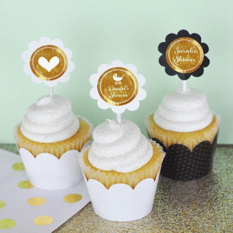 Metallic Foil Personalized Cupcake Wrappers & Cupcake Toppers (Set of 24) - Baby-Jubilee Favors