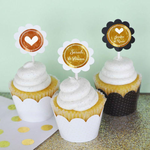 Metallic Foil Personalized Cupcake Wrappers & Cupcake Toppers (Set of 24) - Wedding-Jubilee Favors