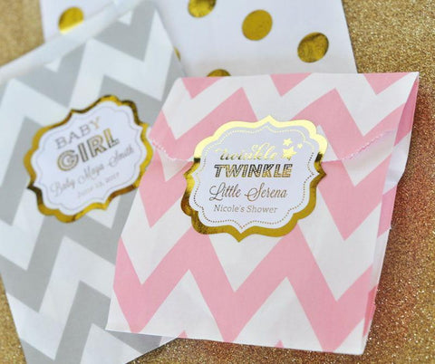 Metallic Foil Personalized Frame Labels Baby