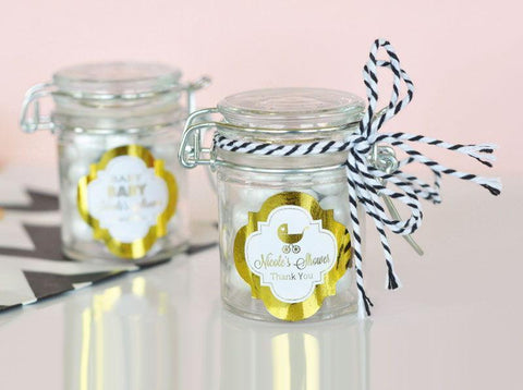 Metallic Foil Personalized Glass Jar with Swing Top Lid - Baby MINI-Jubilee Favors
